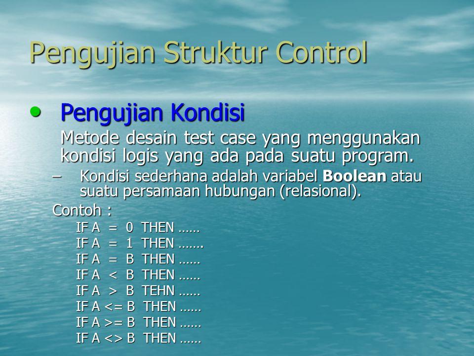 Pengujian Struktur Control Pengujian Kondisi Pengujian Kondisi Metode desain test case yang menggunakan kondisi logis yang ada pada suatu program. –Ko