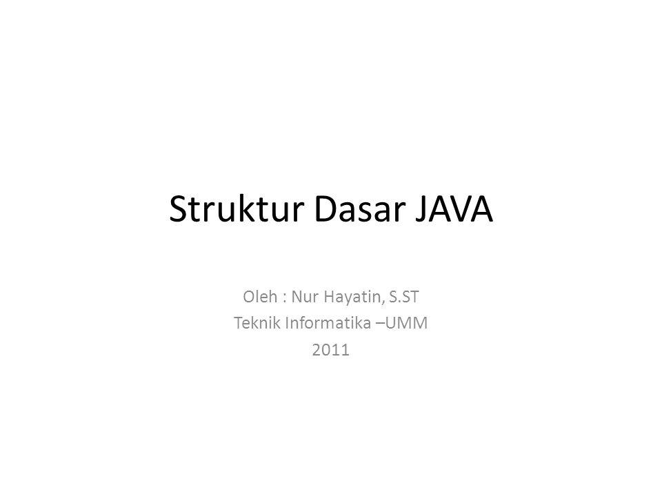 Struktur Dasar JAVA Oleh : Nur Hayatin, S.ST Teknik Informatika –UMM 2011