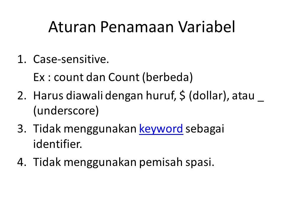 Aturan Penamaan Variabel 1.Case-sensitive. Ex : count dan Count (berbeda) 2.Harus diawali dengan huruf, $ (dollar), atau _ (underscore) 3.Tidak menggu