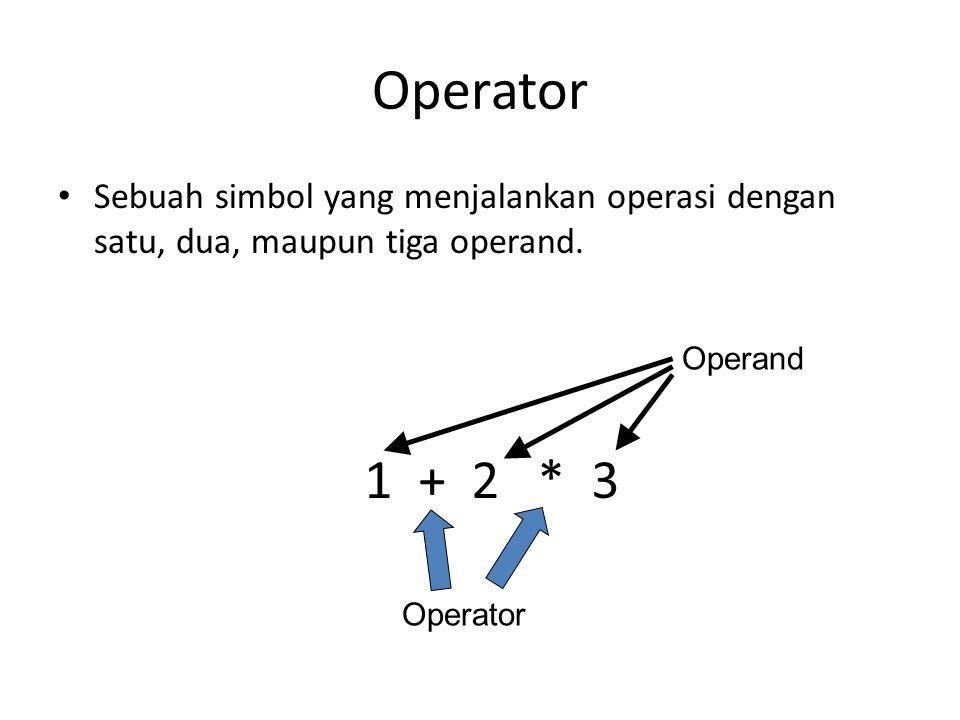 Operator Sebuah simbol yang menjalankan operasi dengan satu, dua, maupun tiga operand. 1 + 2 * 3 Operand Operator