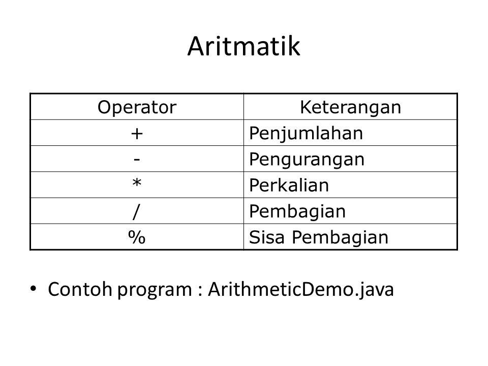 Aritmatik Contoh program : ArithmeticDemo.java OperatorKeterangan +Penjumlahan -Pengurangan *Perkalian /Pembagian %Sisa Pembagian
