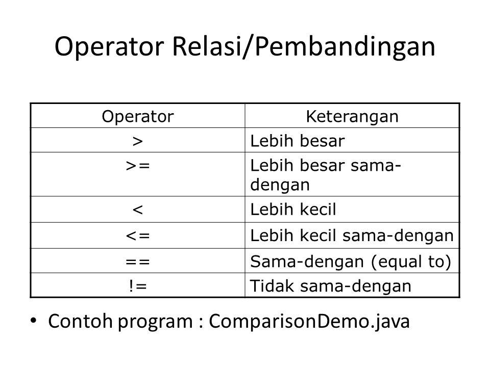 Operator Relasi/Pembandingan Contoh program : ComparisonDemo.java OperatorKeterangan >Lebih besar >=Lebih besar sama- dengan <Lebih kecil <=Lebih kecil sama-dengan ==Sama-dengan (equal to) !=Tidak sama-dengan