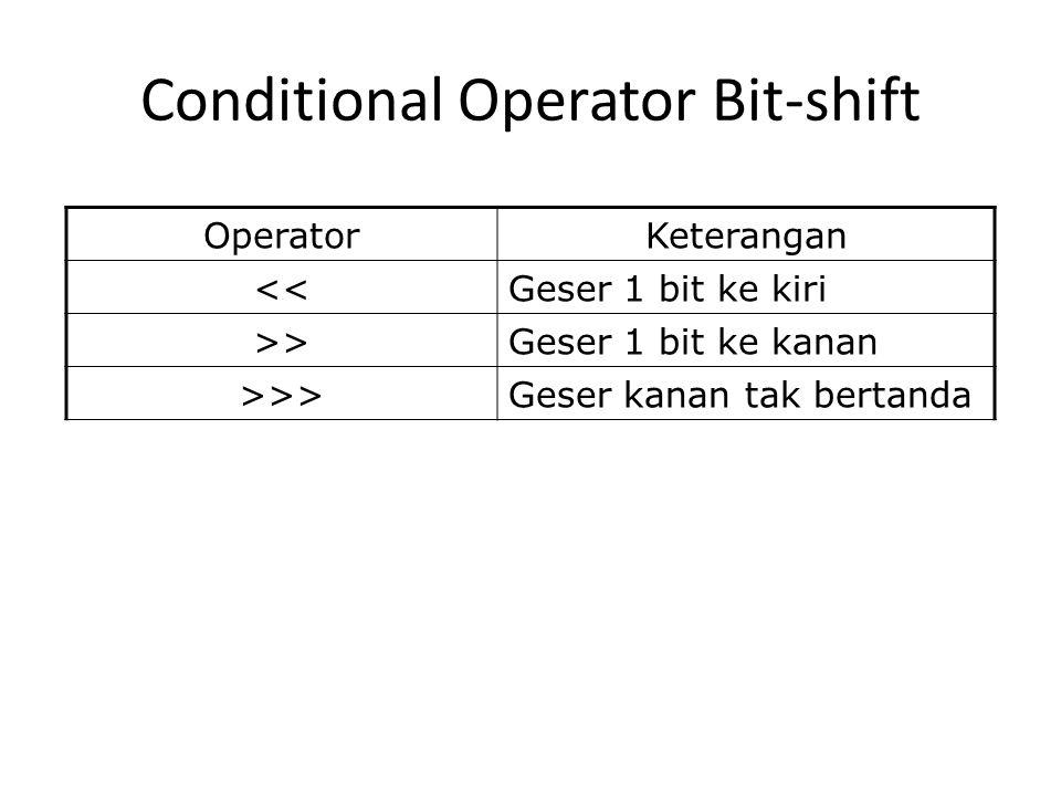 Conditional Operator Bit-shift OperatorKeterangan <<Geser 1 bit ke kiri >>Geser 1 bit ke kanan >>>Geser kanan tak bertanda