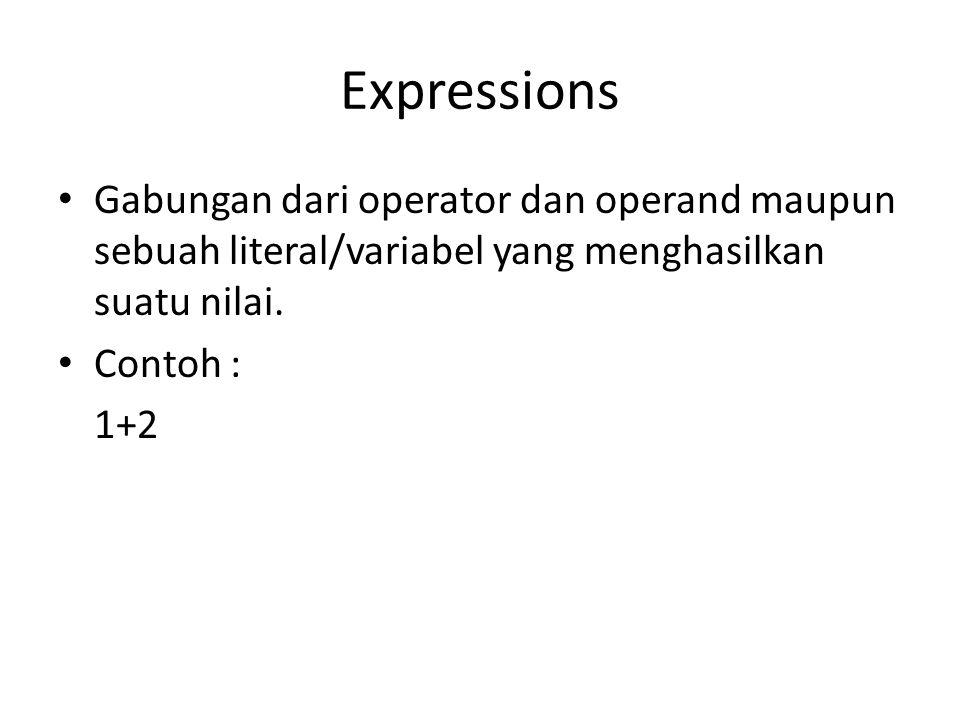 Expressions Gabungan dari operator dan operand maupun sebuah literal/variabel yang menghasilkan suatu nilai. Contoh : 1+2