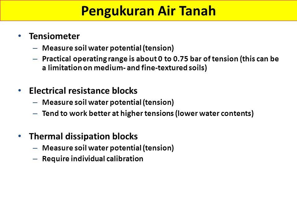 Tensiometer untuk mengukur potensial air tanah Porous Ceramic Tip Vacuum Gauge (0-100 centibar) Water Reservoir Variable Tube Length (12 in- 48 in) Based on Root Zone Depth