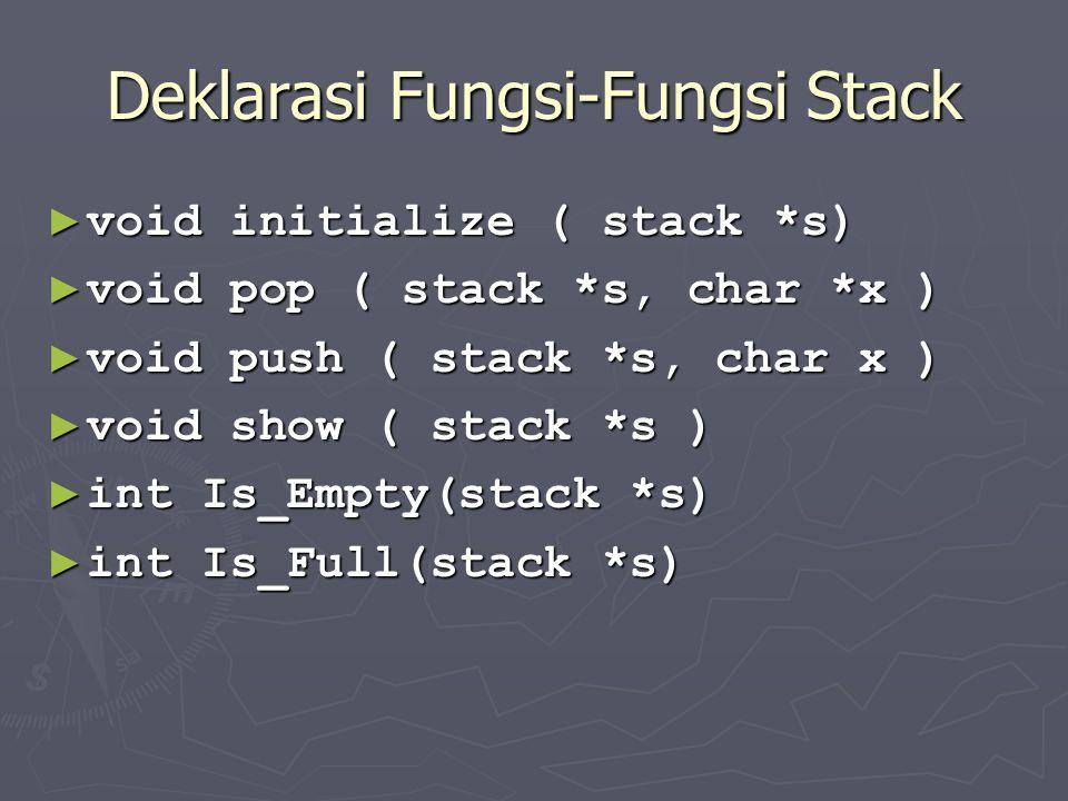 Deklarasi Fungsi-Fungsi Stack ► void initialize ( stack *s) ► void pop ( stack *s, char *x ) ► void push ( stack *s, char x ) ► void show ( stack *s )