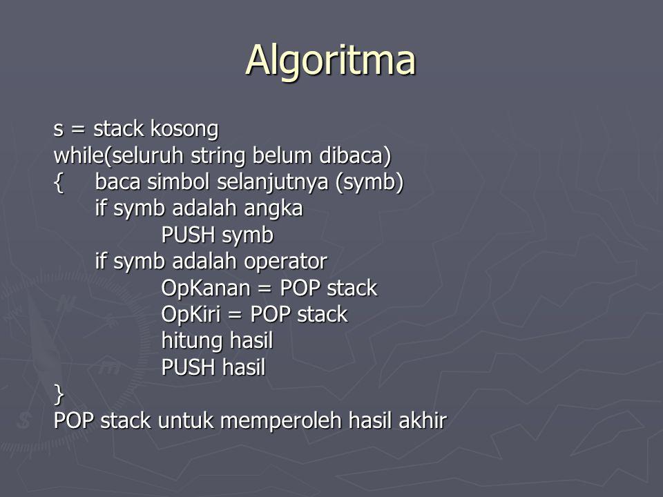 Algoritma s = stack kosong while(seluruh string belum dibaca) {baca simbol selanjutnya (symb) if symb adalah angka PUSH symb if symb adalah operator O