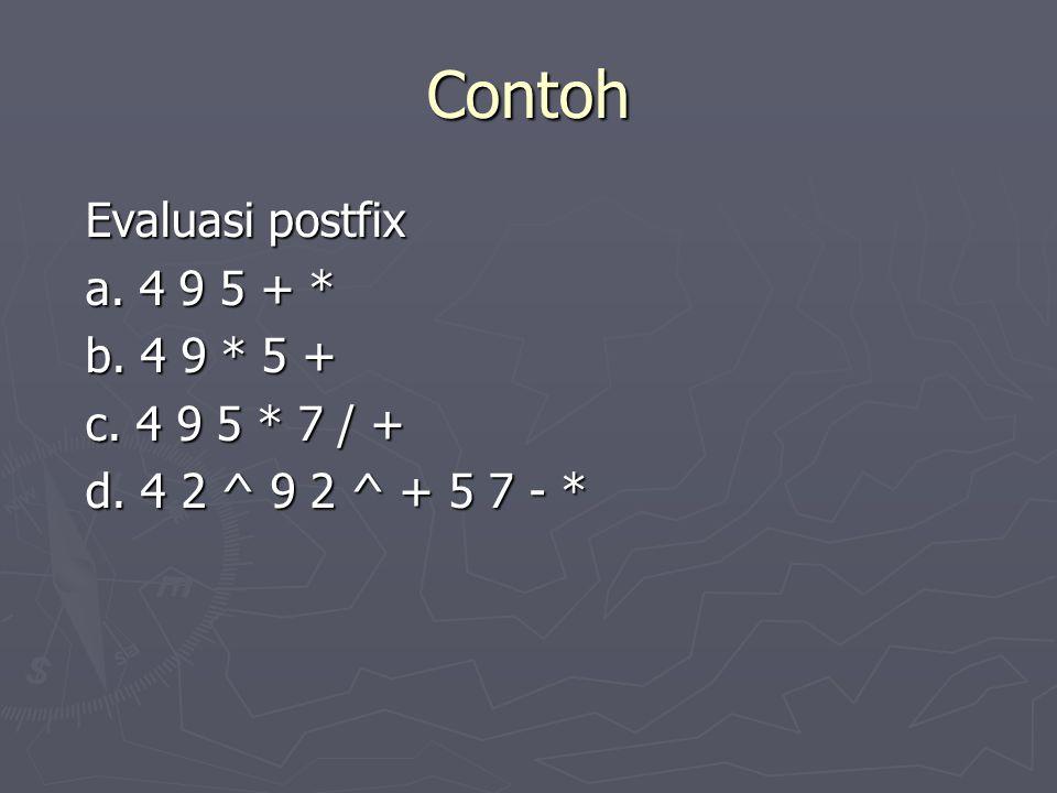 Contoh Evaluasi postfix a. 4 9 5 + * b. 4 9 * 5 + c. 4 9 5 * 7 / + c. 4 9 5 * 7 / + d. 4 2 ^ 9 2 ^ + 5 7 - *