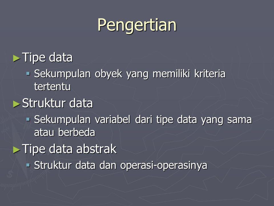 Pengertian ► Tipe data  Sekumpulan obyek yang memiliki kriteria tertentu ► Struktur data  Sekumpulan variabel dari tipe data yang sama atau berbeda