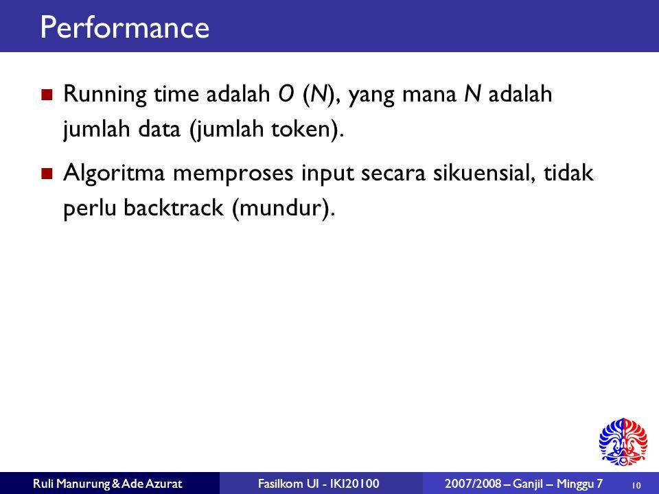 10 Ruli Manurung & Ade AzuratFasilkom UI - IKI20100 2007/2008 – Ganjil – Minggu 7 Performance Running time adalah O (N), yang mana N adalah jumlah dat
