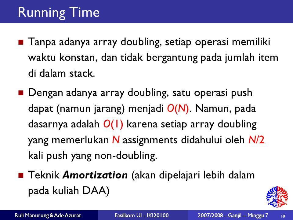 18 Ruli Manurung & Ade AzuratFasilkom UI - IKI20100 2007/2008 – Ganjil – Minggu 7 Running Time Tanpa adanya array doubling, setiap operasi memiliki waktu konstan, dan tidak bergantung pada jumlah item di dalam stack.