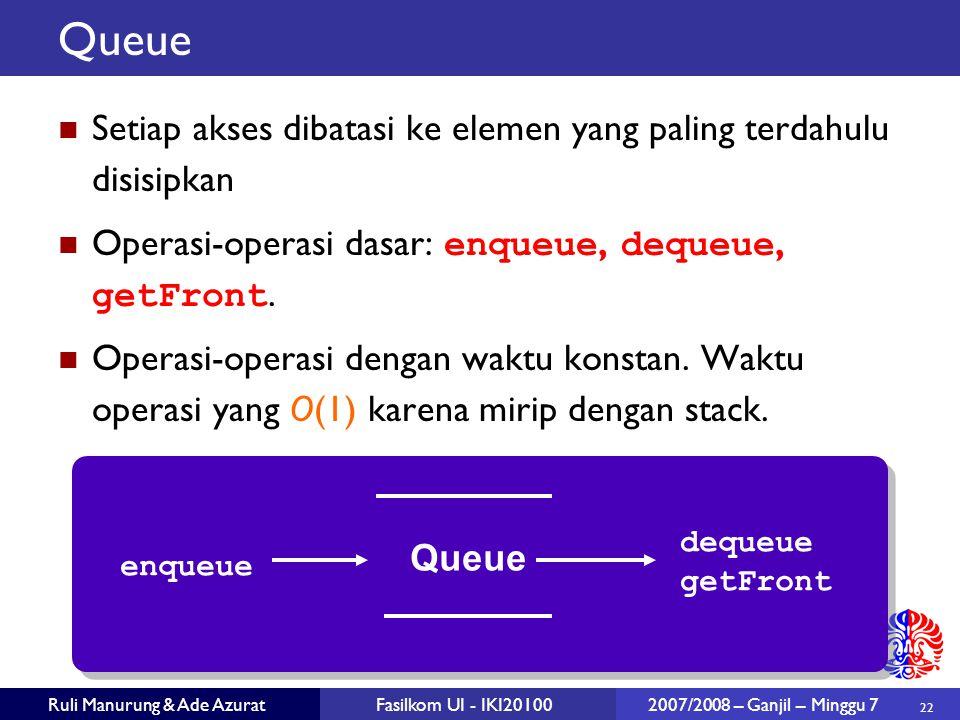 22 Ruli Manurung & Ade AzuratFasilkom UI - IKI20100 2007/2008 – Ganjil – Minggu 7 Queue Setiap akses dibatasi ke elemen yang paling terdahulu disisipkan Operasi-operasi dasar: enqueue, dequeue, getFront.