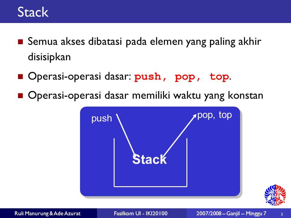 5 Ruli Manurung & Ade AzuratFasilkom UI - IKI20100 2007/2008 – Ganjil – Minggu 7 Stack Semua akses dibatasi pada elemen yang paling akhir disisipkan Operasi-operasi dasar: push, pop, top.