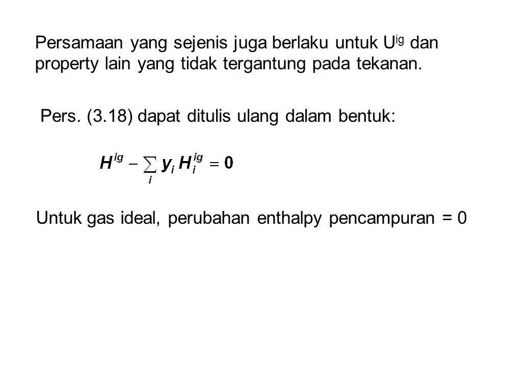 Persamaan yang sejenis juga berlaku untuk U ig dan property lain yang tidak tergantung pada tekanan.