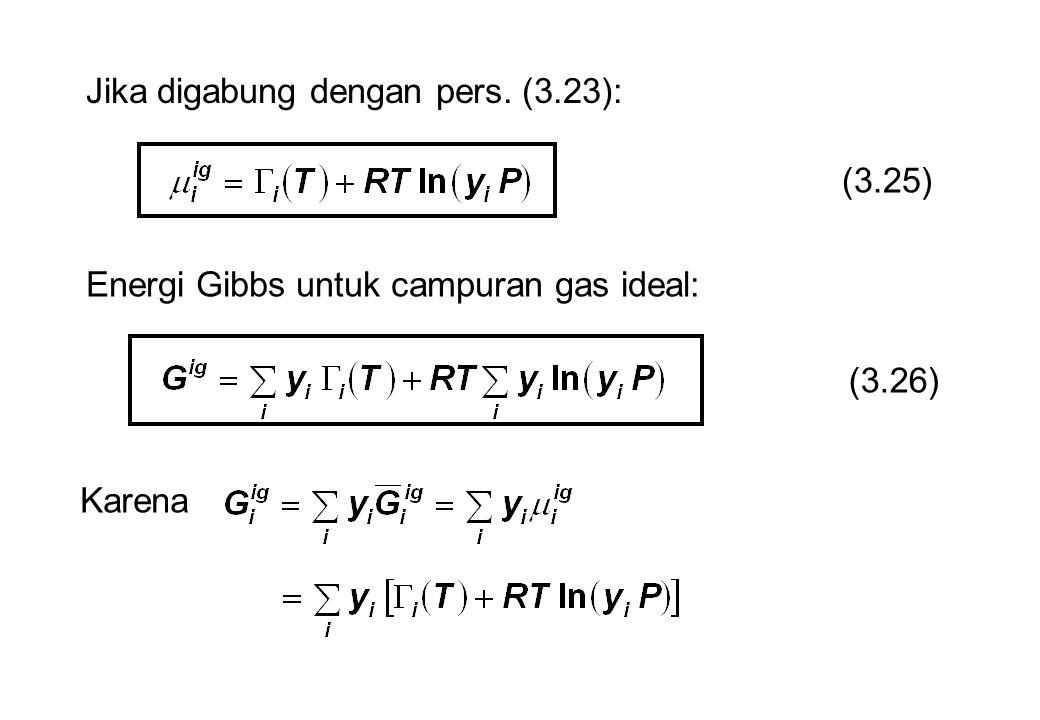 Jika digabung dengan pers. (3.23): (3.25) Energi Gibbs untuk campuran gas ideal: (3.26) Karena