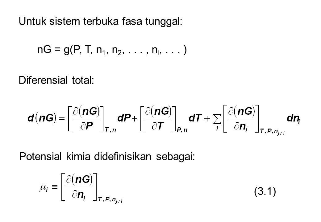 Untuk sistem terbuka fasa tunggal: nG = g(P, T, n 1, n 2,..., n i,... ) Diferensial total: Potensial kimia didefinisikan sebagai: (3.1)