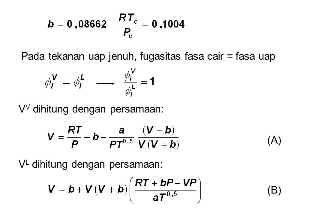 Pada tekanan uap jenuh, fugasitas fasa cair = fasa uap V V dihitung dengan persamaan: V L dihitung dengan persamaan: (A) (B)