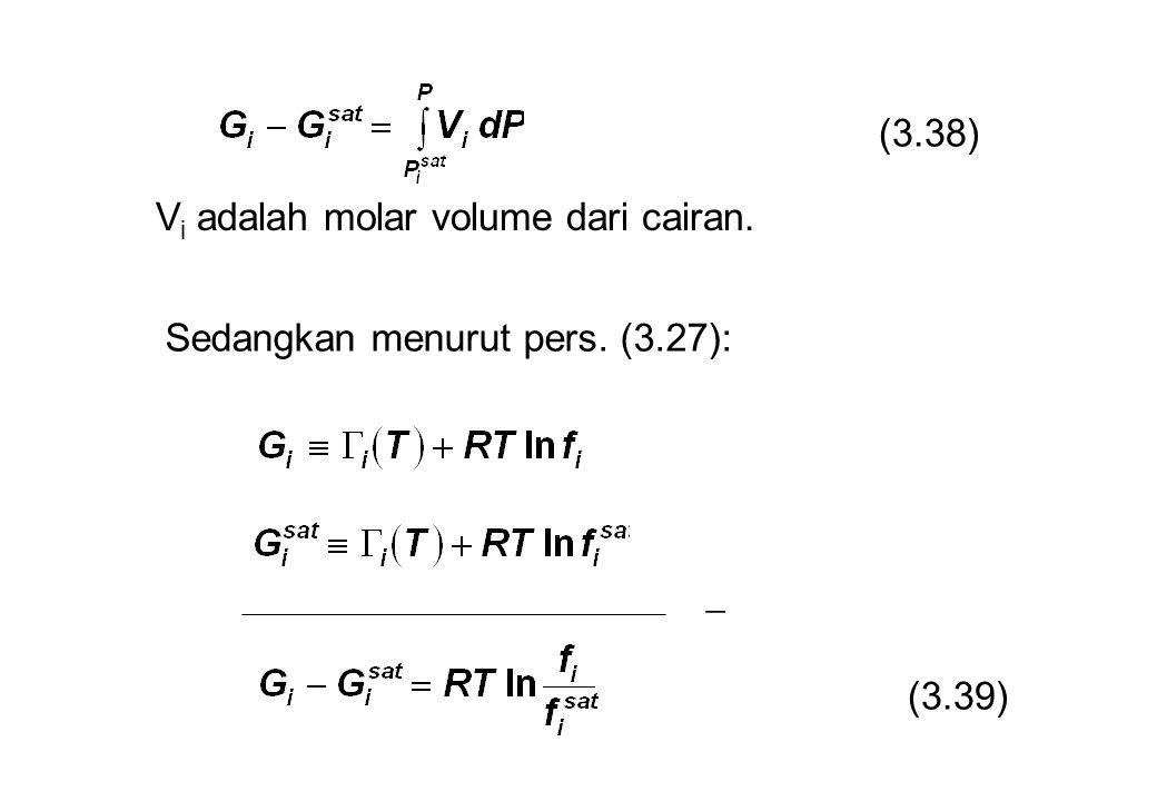 Sedangkan menurut pers. (3.27):  (3.38) (3.39) V i adalah molar volume dari cairan.