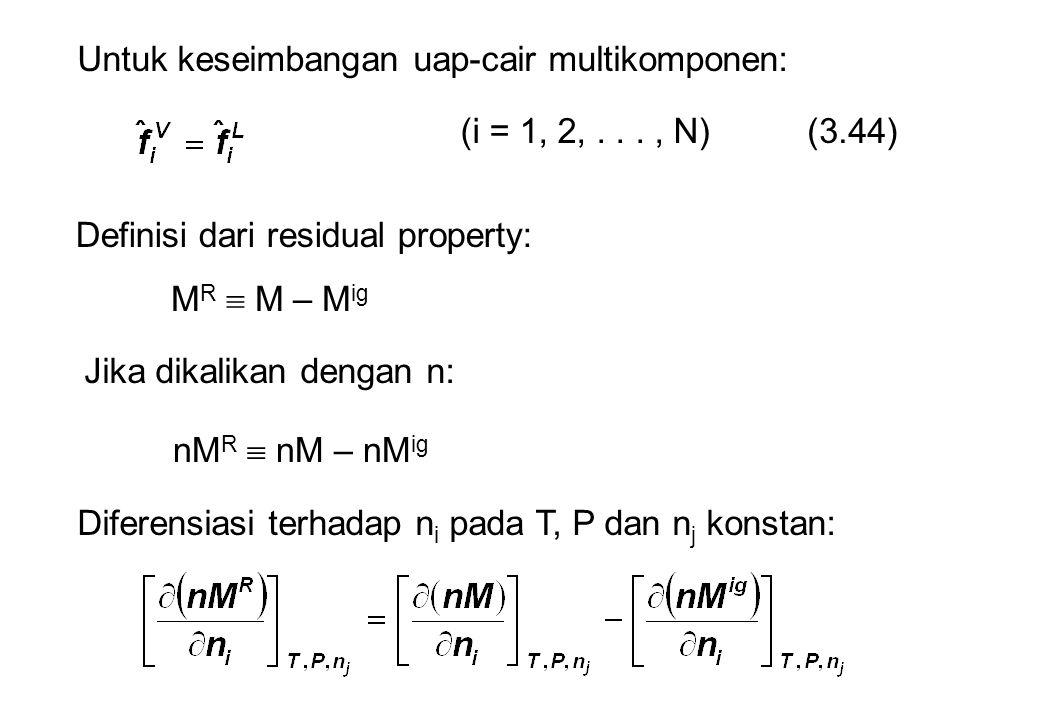 Untuk keseimbangan uap-cair multikomponen: (3.44)(i = 1, 2,..., N) Definisi dari residual property: M R  M – M ig Jika dikalikan dengan n: nM R  nM – nM ig Diferensiasi terhadap n i pada T, P dan n j konstan: