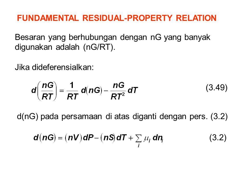 FUNDAMENTAL RESIDUAL-PROPERTY RELATION Besaran yang berhubungan dengan nG yang banyak digunakan adalah (nG/RT). Jika dideferensialkan: d(nG) pada pers