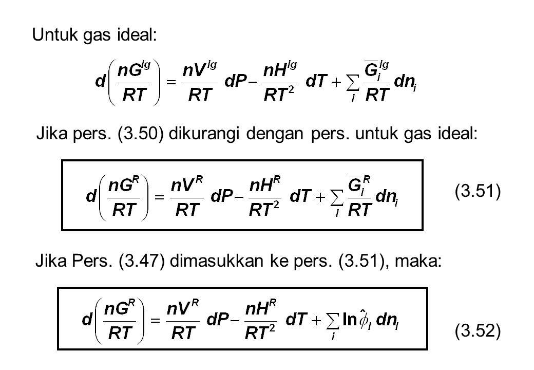 Untuk gas ideal: Jika pers. (3.50) dikurangi dengan pers. untuk gas ideal: (3.51) Jika Pers. (3.47) dimasukkan ke pers. (3.51), maka: (3.52)