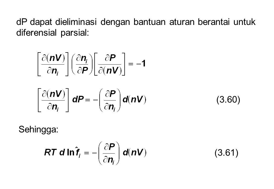 dP dapat dieliminasi dengan bantuan aturan berantai untuk diferensial parsial: (3.60) Sehingga: (3.61)