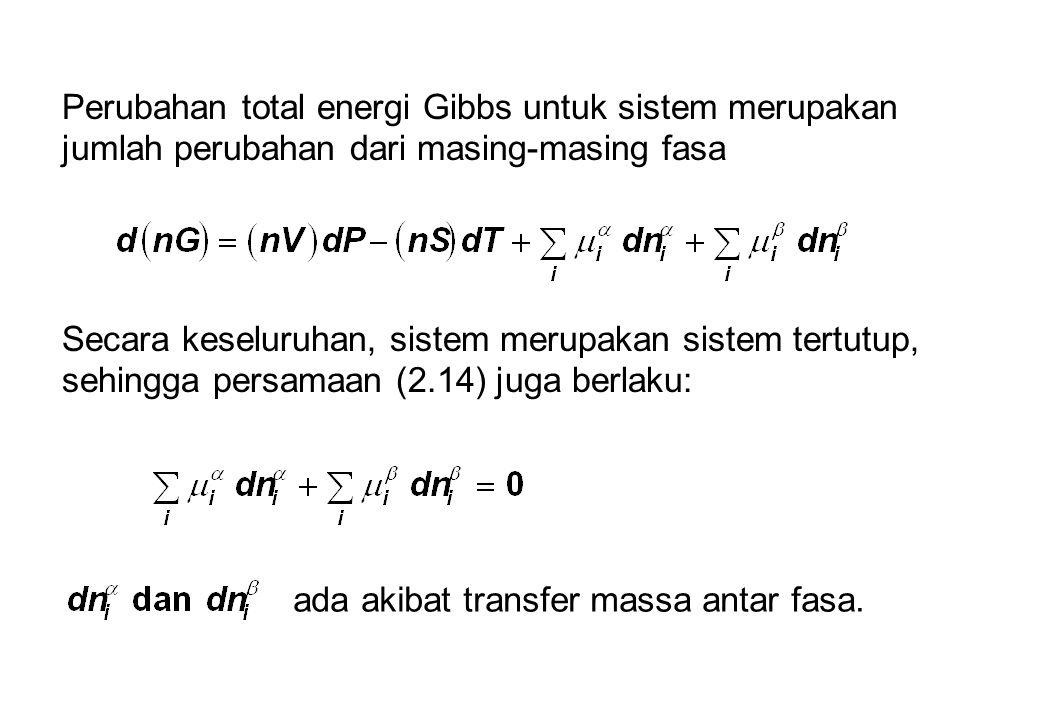 Perubahan total energi Gibbs untuk sistem merupakan jumlah perubahan dari masing-masing fasa Secara keseluruhan, sistem merupakan sistem tertutup, sehingga persamaan (2.14) juga berlaku: ada akibat transfer massa antar fasa.