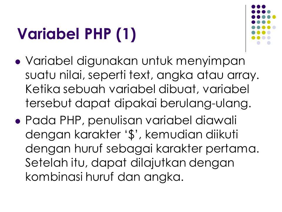 Variabel PHP (1) Variabel digunakan untuk menyimpan suatu nilai, seperti text, angka atau array. Ketika sebuah variabel dibuat, variabel tersebut dapa