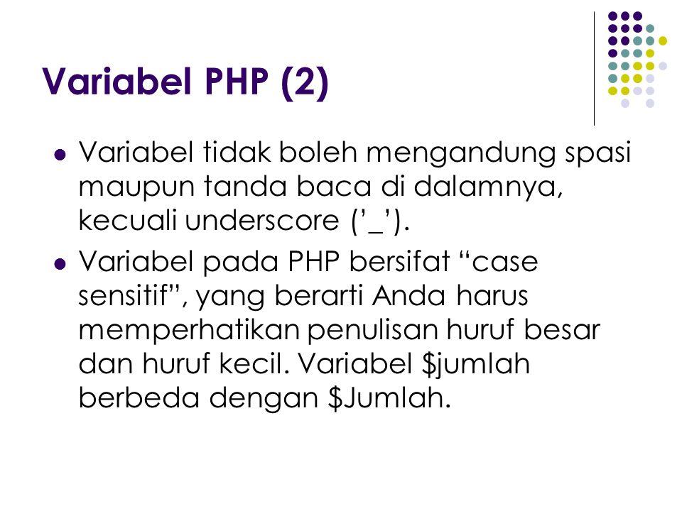 "Variabel PHP (2) Variabel tidak boleh mengandung spasi maupun tanda baca di dalamnya, kecuali underscore ('_'). Variabel pada PHP bersifat ""case sensi"