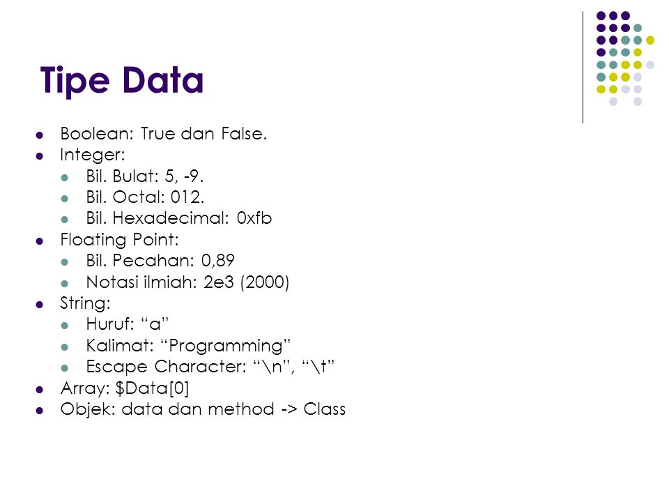 Tipe Data Boolean: True dan False.Integer: Bil. Bulat: 5, -9.