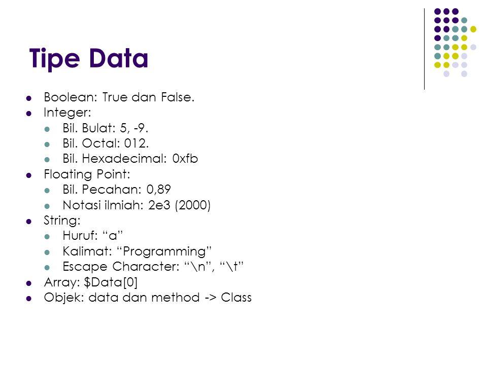 Tipe Data Boolean: True dan False. Integer: Bil. Bulat: 5, -9. Bil. Octal: 012. Bil. Hexadecimal: 0xfb Floating Point: Bil. Pecahan: 0,89 Notasi ilmia