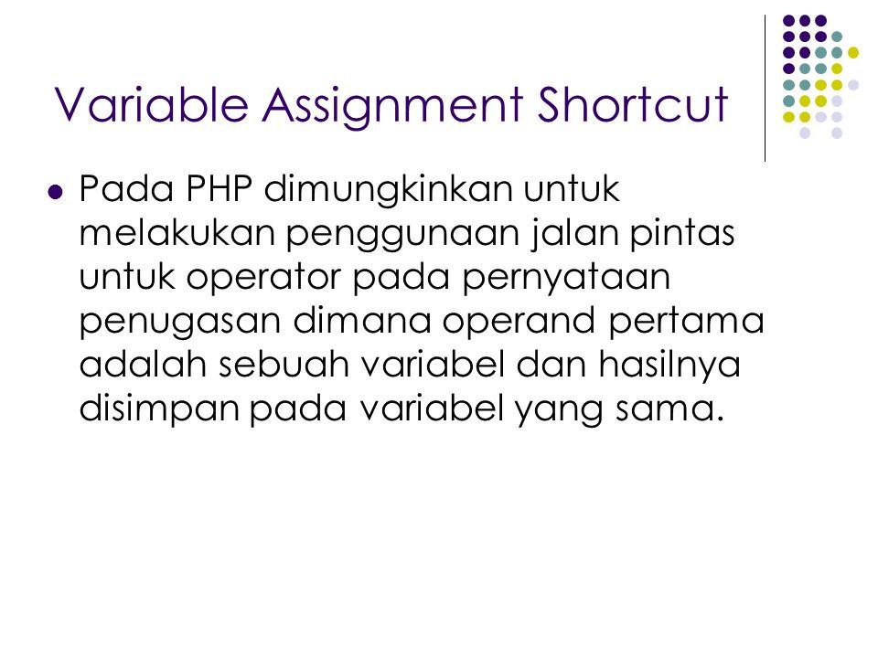 Variable Assignment Shortcut Pada PHP dimungkinkan untuk melakukan penggunaan jalan pintas untuk operator pada pernyataan penugasan dimana operand pertama adalah sebuah variabel dan hasilnya disimpan pada variabel yang sama.