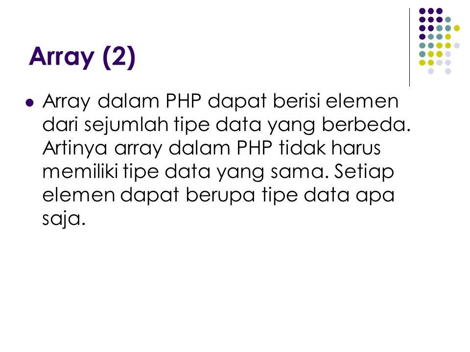 Array (2) Array dalam PHP dapat berisi elemen dari sejumlah tipe data yang berbeda. Artinya array dalam PHP tidak harus memiliki tipe data yang sama.