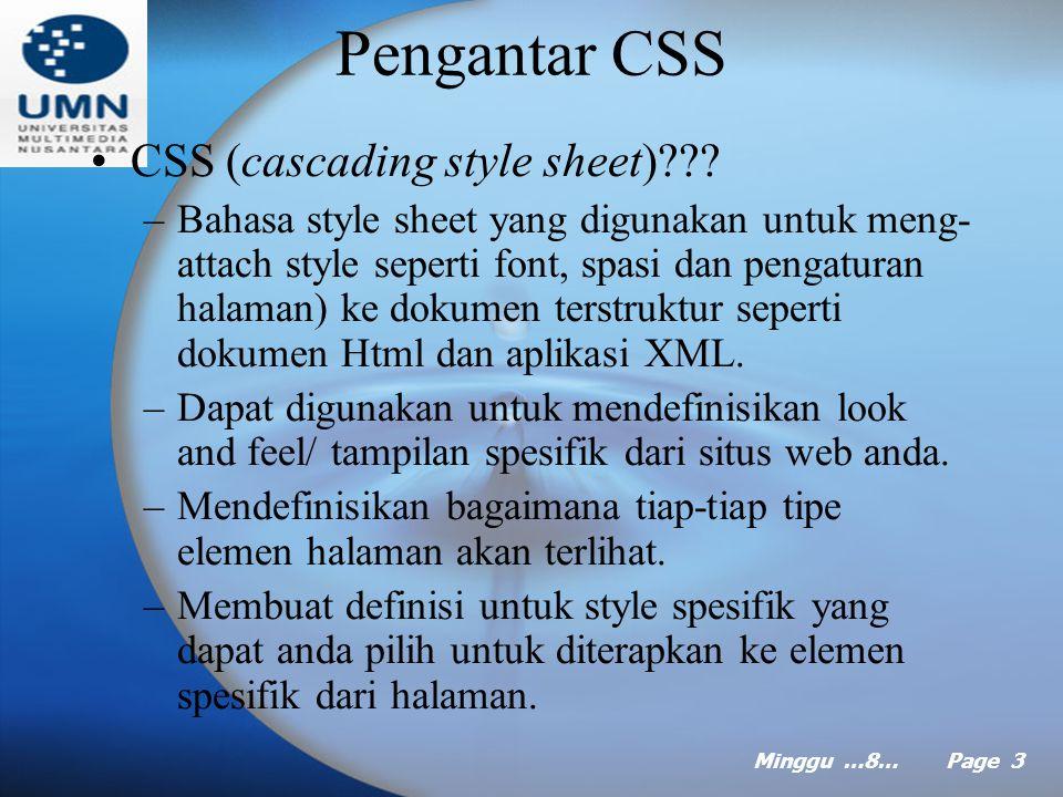 Minggu …8… Page 2 Agenda Pengantar CSS Sintaks Style Penerapan CSS dalam halaman Web Membuat StyleSheet Menggunakan dan membuat Themes Menerapkan Them