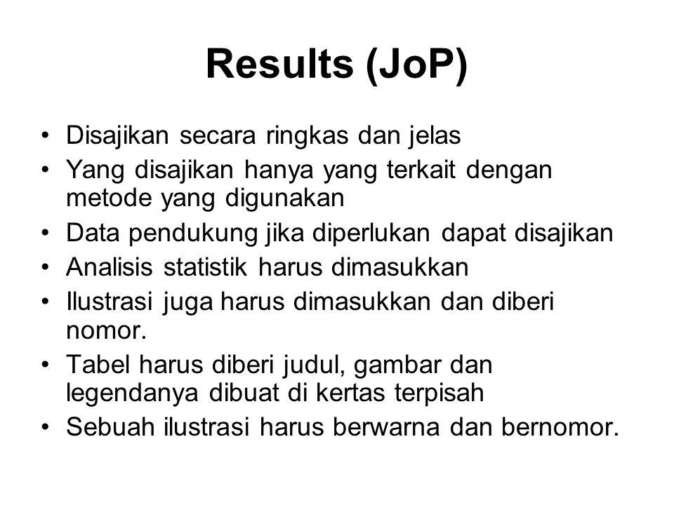 Results (JoP) Disajikan secara ringkas dan jelas Yang disajikan hanya yang terkait dengan metode yang digunakan Data pendukung jika diperlukan dapat disajikan Analisis statistik harus dimasukkan Ilustrasi juga harus dimasukkan dan diberi nomor.