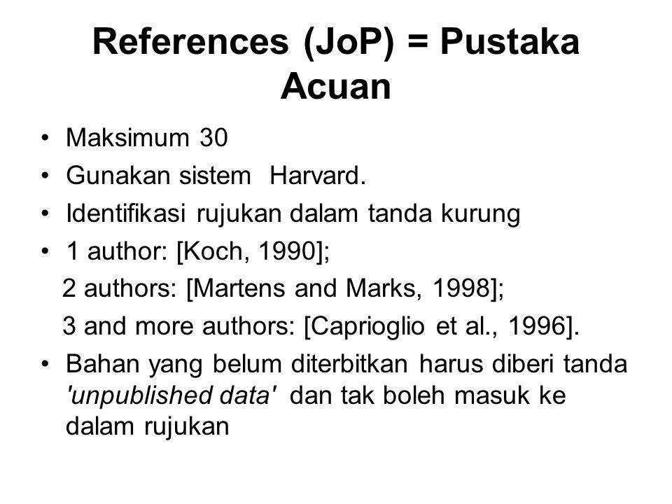 References (JoP) = Pustaka Acuan Maksimum 30 Gunakan sistem Harvard. Identifikasi rujukan dalam tanda kurung 1 author: [Koch, 1990]; 2 authors: [Marte