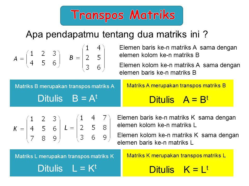Apa pendapatmu tentang dua matriks ini ? Elemen baris ke-n matriks A sama dengan elemen kolom ke-n matriks B Elemen kolom ke-n matriks A sama dengan e