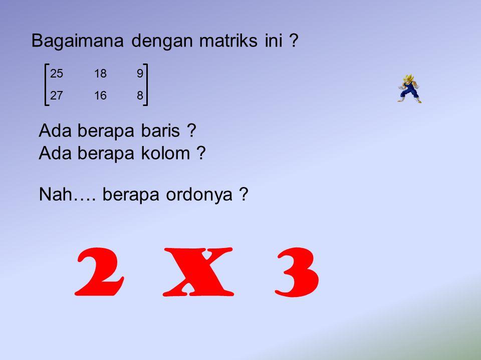 25 18 9 27 16 8 Bagaimana dengan matriks ini ? Ada berapa baris ? Ada berapa kolom ? Nah…. berapa ordonya ? 2 x 3