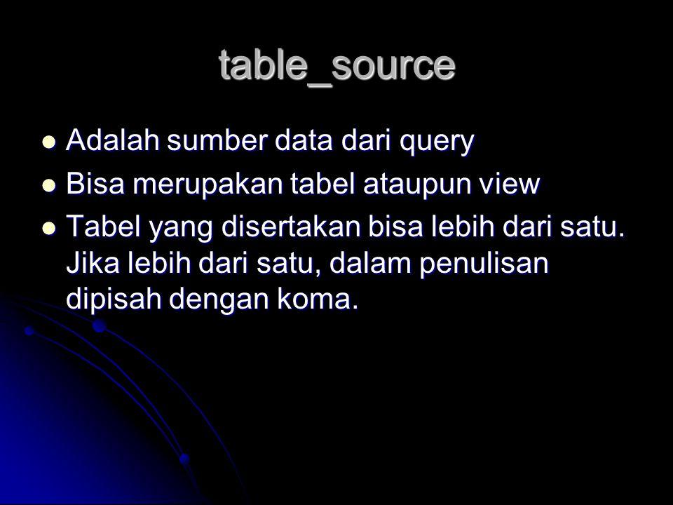 table_source Adalah sumber data dari query Adalah sumber data dari query Bisa merupakan tabel ataupun view Bisa merupakan tabel ataupun view Tabel yan