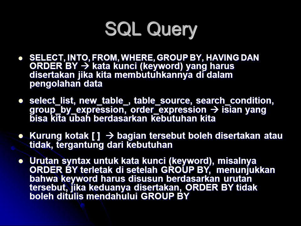 SQL Query SELECT, INTO, FROM, WHERE, GROUP BY, HAVING DAN ORDER BY  kata kunci (keyword) yang harus disertakan jika kita membutuhkannya di dalam peng