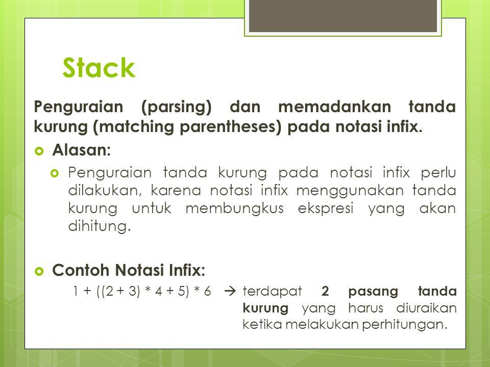 Stack Penguraian (parsing) dan memadankan tanda kurung (matching parentheses) pada notasi infix.  Alasan:  Penguraian tanda kurung pada notasi infix