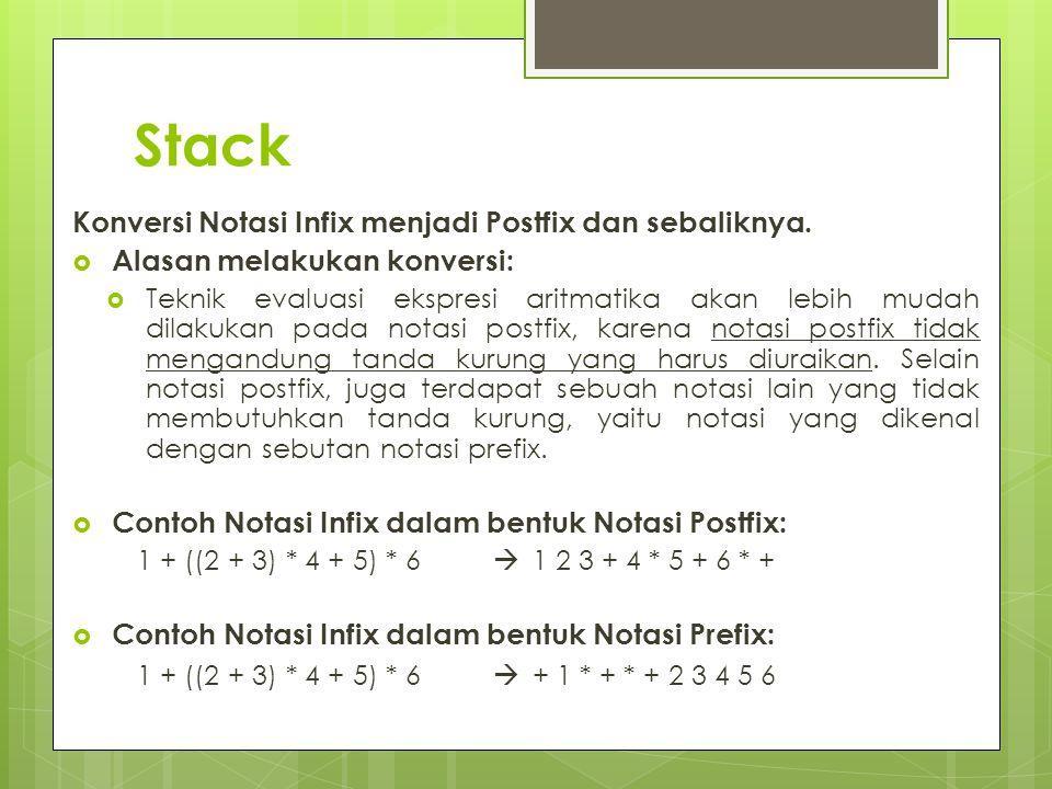 Stack Konversi Notasi Infix menjadi Postfix dan sebaliknya.  Alasan melakukan konversi:  Teknik evaluasi ekspresi aritmatika akan lebih mudah dilaku
