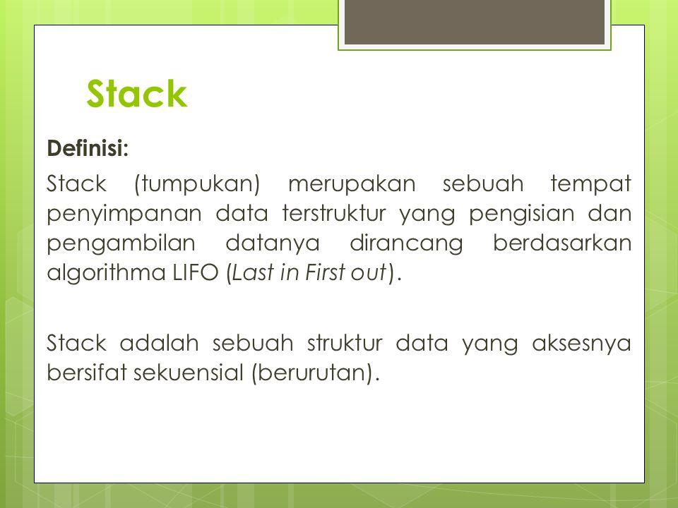 Stack Definisi: Stack (tumpukan) merupakan sebuah tempat penyimpanan data terstruktur yang pengisian dan pengambilan datanya dirancang berdasarkan alg
