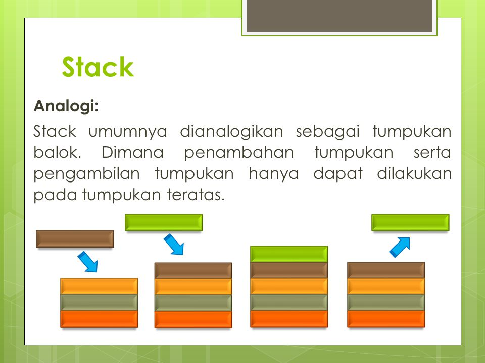 Stack Analogi: Stack umumnya dianalogikan sebagai tumpukan balok. Dimana penambahan tumpukan serta pengambilan tumpukan hanya dapat dilakukan pada tum