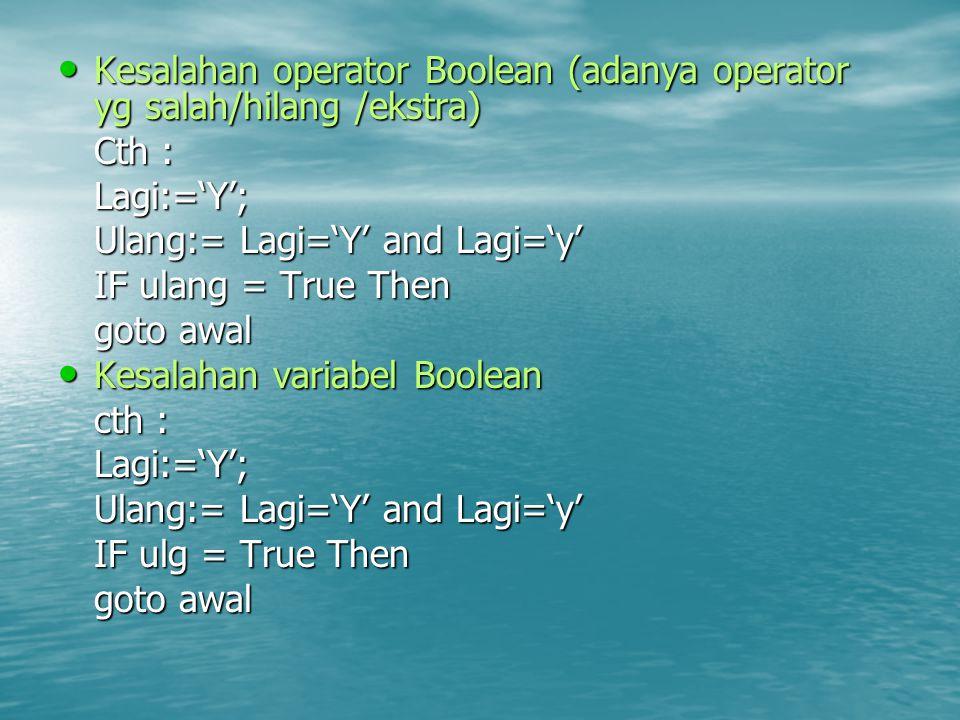 Kesalahan operator Boolean (adanya operator yg salah/hilang /ekstra) Kesalahan operator Boolean (adanya operator yg salah/hilang /ekstra) Cth : Lagi:='Y'; Ulang:= Lagi='Y' and Lagi='y' IF ulang = True Then goto awal Kesalahan variabel Boolean Kesalahan variabel Boolean cth : Lagi:='Y'; Ulang:= Lagi='Y' and Lagi='y' IF ulg = True Then goto awal