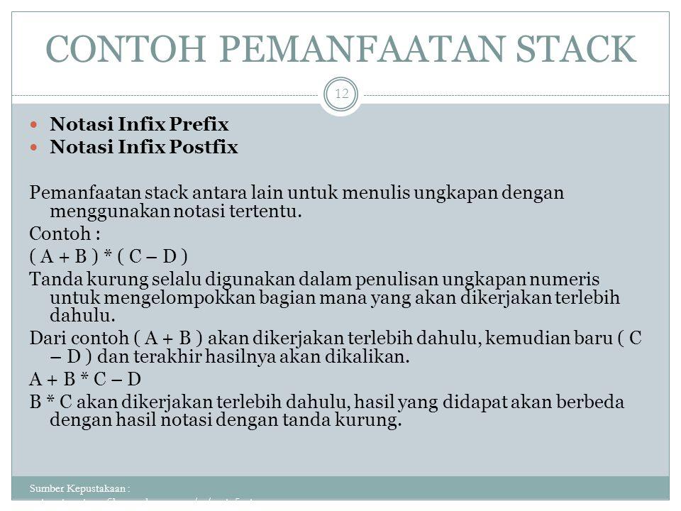 CONTOH PEMANFAATAN STACK Sumber Kepustakaan : putuputraastawa.files.wordpress.com/.../pert_5_sta... 12 Notasi Infix Prefix Notasi Infix Postfix Pemanf