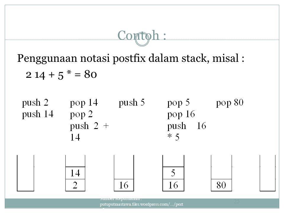 Contoh : Penggunaan notasi postfix dalam stack, misal : 2 14 + 5 * = 80 Sumber Kepustakaan : putuputraastawa.files.wordpress.com/.../pert _5_sta... 25