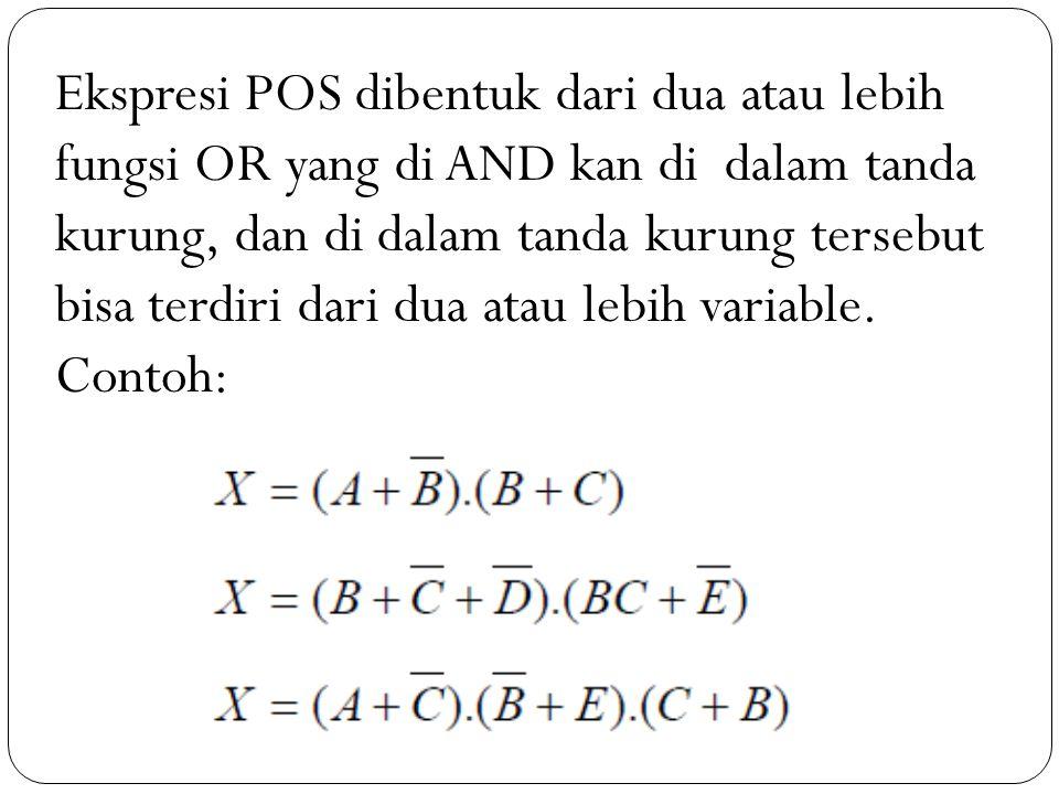 Ekspresi POS dibentuk dari dua atau lebih fungsi OR yang di AND kan di dalam tanda kurung, dan di dalam tanda kurung tersebut bisa terdiri dari dua at