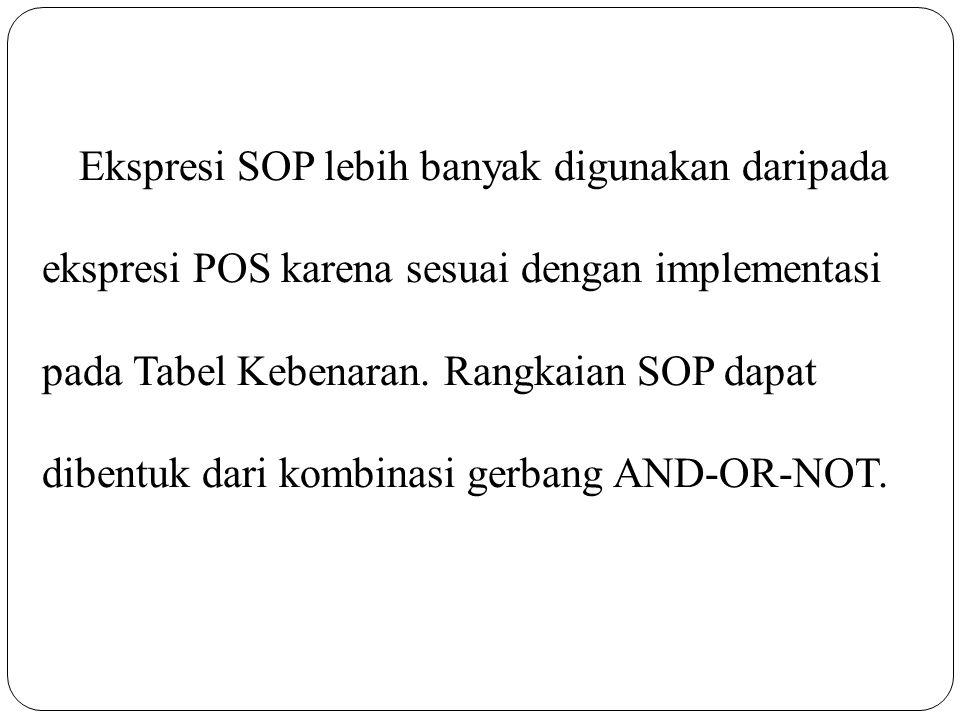 Ekspresi SOP lebih banyak digunakan daripada ekspresi POS karena sesuai dengan implementasi pada Tabel Kebenaran. Rangkaian SOP dapat dibentuk dari ko