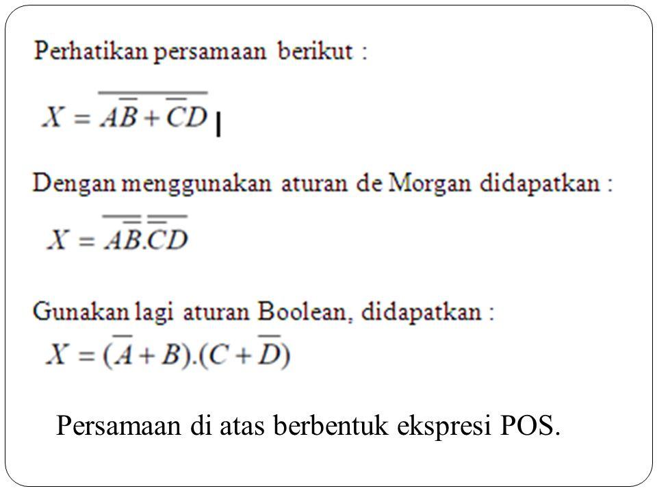 Persamaan di atas berbentuk ekspresi POS.